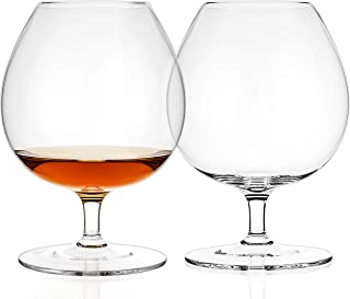 Luxbe - Brandy & Cognac Crystal Glasses Snifter, Set of 2 - Large Handcrafted - 100% Lead-Free Crystal Glass - Great for Spirits Drinks - Bourbon - Wine - 25.5-ounce