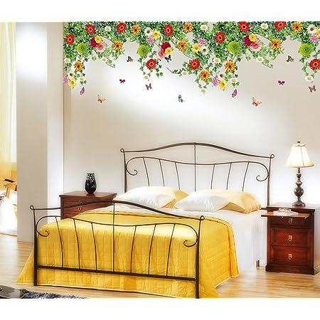 Decals Design 'Realistic Daisy Flowers Falling' Wall Sticker (PVC Vinyl, 60 cm x 90 cm, Multicolor)