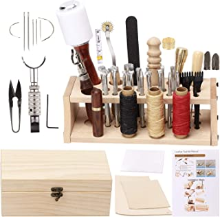 UOOU Leathercraft Hand Tools Kit with Instructions,Leathercraft Working Tools,Stamping Set,Prong Punch,Hand Sewing Stitching, for DIY Leather Working and Saddle Making