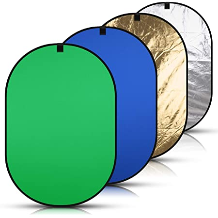 Konseen 4 in 1 Collapsible Pop Up Backdrop Reflector Panel for Photography 1.5x2 M//5x6.5feet Chromakey 100/% Cotton Muslin Black White Reversible Photo Background Screen with Carry Bag