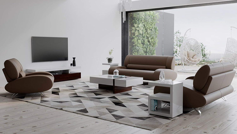 Zuri Modern Aspen Brown Microfiber Sofa New arrival Set Leather Charlotte Mall with Lovesea