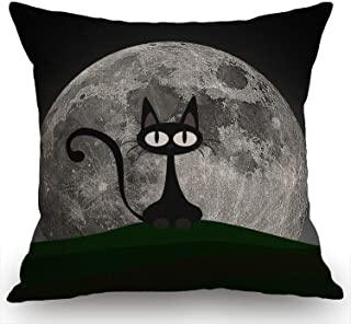 Swono Black Cat on a Beautiful Night with Full Moon Burlap Throw Pillow Case Cushion Cover Couch Sofa Decorative Square 18...