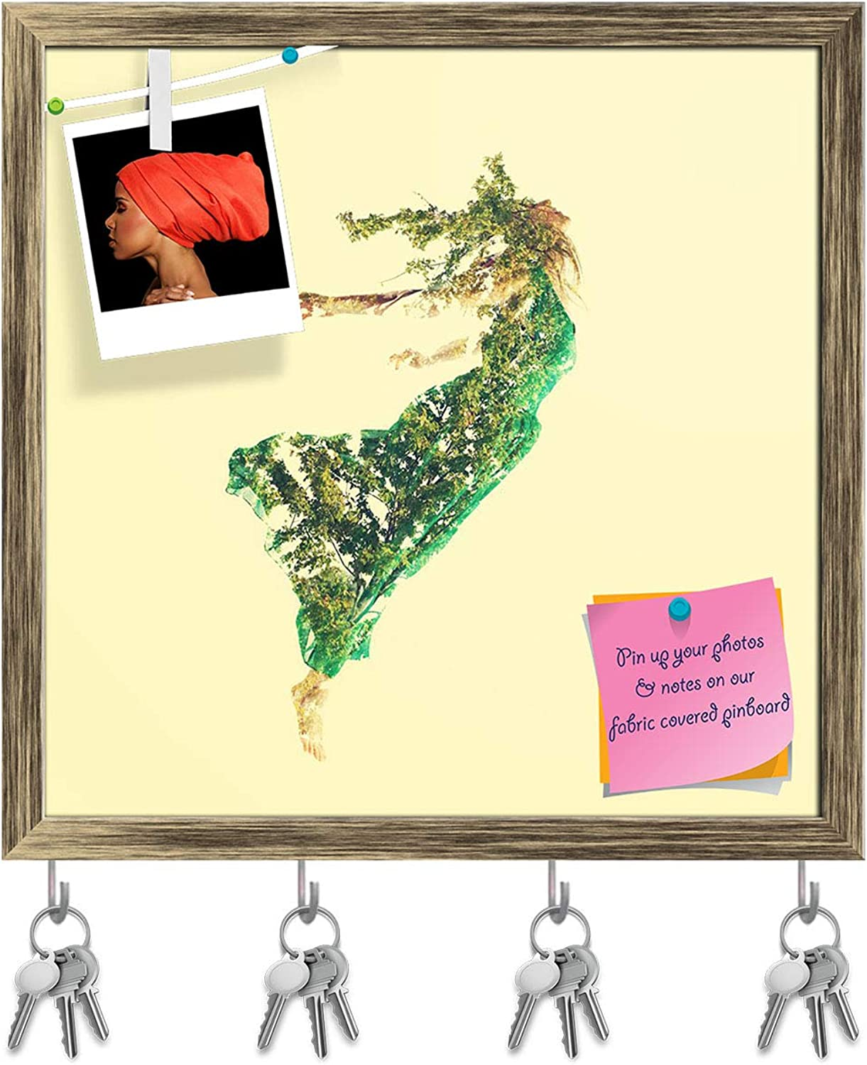Artzfolio Young Woman Flying with Abstract Leaves Key Holder Hooks   Notice Pin Board   Antique golden Frame 16.1 X 16Inch