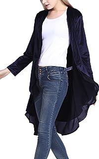 Sponsored Ad - Urban CoCo Women's Long Sleeve Velvet Cardigan Coat with Asymmetric Chiffon Hem