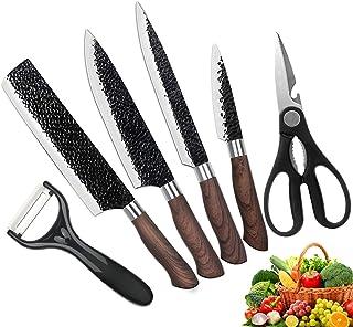 MRang Juego De Cuchillos De Cocina, Cuchillos De Acero Inoxidable Juego De Cuchillos Profesional Afilado De 6 Piezas