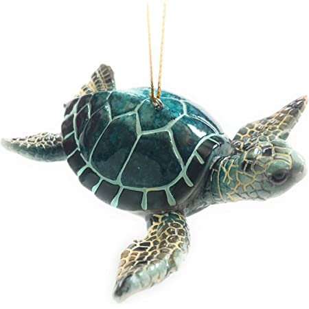 Christmas Ornaments - Home Decor - Hand-Painted Blue Sea Turtle - Best for Tree Hanging, Bathroom Decorations, Stocking Stuffers, Scuba Lovers and Ocean Enthusiasts