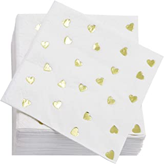 Juvale Gold Heart Cocktail Napkins (50 Pack) 5 x 5 Inches, Gold Foil