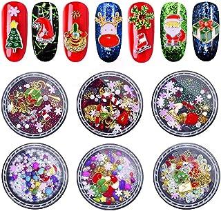 EBANKU - Juego de 6 cajas de diamantes de imitación, diseño de uñas 3D, joyas de metal para uñas, decoración de uñas