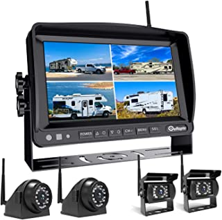 eRapta Wireless Backup Camera System with Built-in DVR and 1080P 7'' Monitor, 2.0 Stable Digital Wireless Kit 4 Channels R...