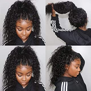Water Wave Lace Frontal Wigs Human Hair Water Wave Wigs for Black Women Wet and Wavy Lace Front Wigs with Baby Hair Natural Hairline 150% Density Brazilian Virgin Remy Hair Lace Wigs