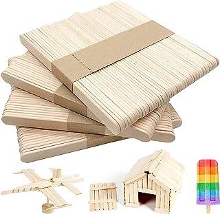 Anvin 200 Pcs Craft Sticks Natural Standard Wood Popsicle Sticks Ice Lolly Sticks 4.5 inch Treat Sticks Ice Pop Sticks for...