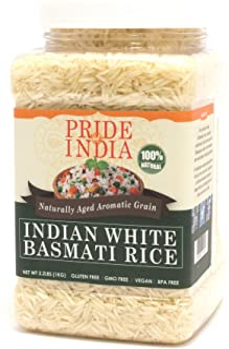 Pride Of India - Extra Long Indian Basmati Rice, Naturally Aged Aromatic Grain, 3.3 Pound (1.5 Kilo) Jar (2.2 Pound + 50% ...