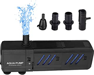Thanger 400 GPH Submersible Water Fountain Pump with Two Filter (1500L/H, 15W), Powerful and Quiet Aquarium Water Pump for Large-Sized Fish Tank (200L), Pond, Fountain, Water Garden, Hydroponic