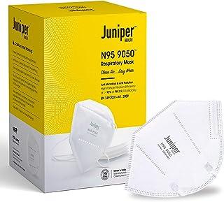 Juniper N95 Face Mask 9050 Respirator – White – Antiviral & Antibacterial – Filtration efficiency > 95% (PM 2.5) – Comfort...