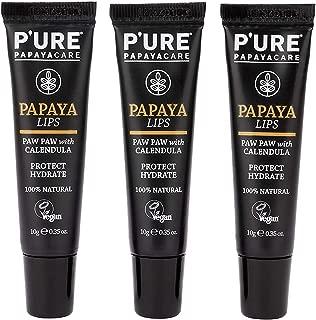 P'URE PAPAYACARE Papaya Lips - Australian Organic Papaya for Dry Cracked Lips, Protect, Hydrate & Moisturize - Vitamin C, Shea Butter, Calendula - Vegan, 100% Natural, (0.35 oz) 3-Pack