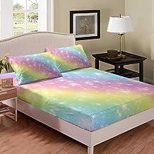 Rainbow Bedding Set Queen Size Kids Girls Sheet Set Cute Cartoon Children's Bedroom Decor Fitted Sheet Deep Pockets Colorf...