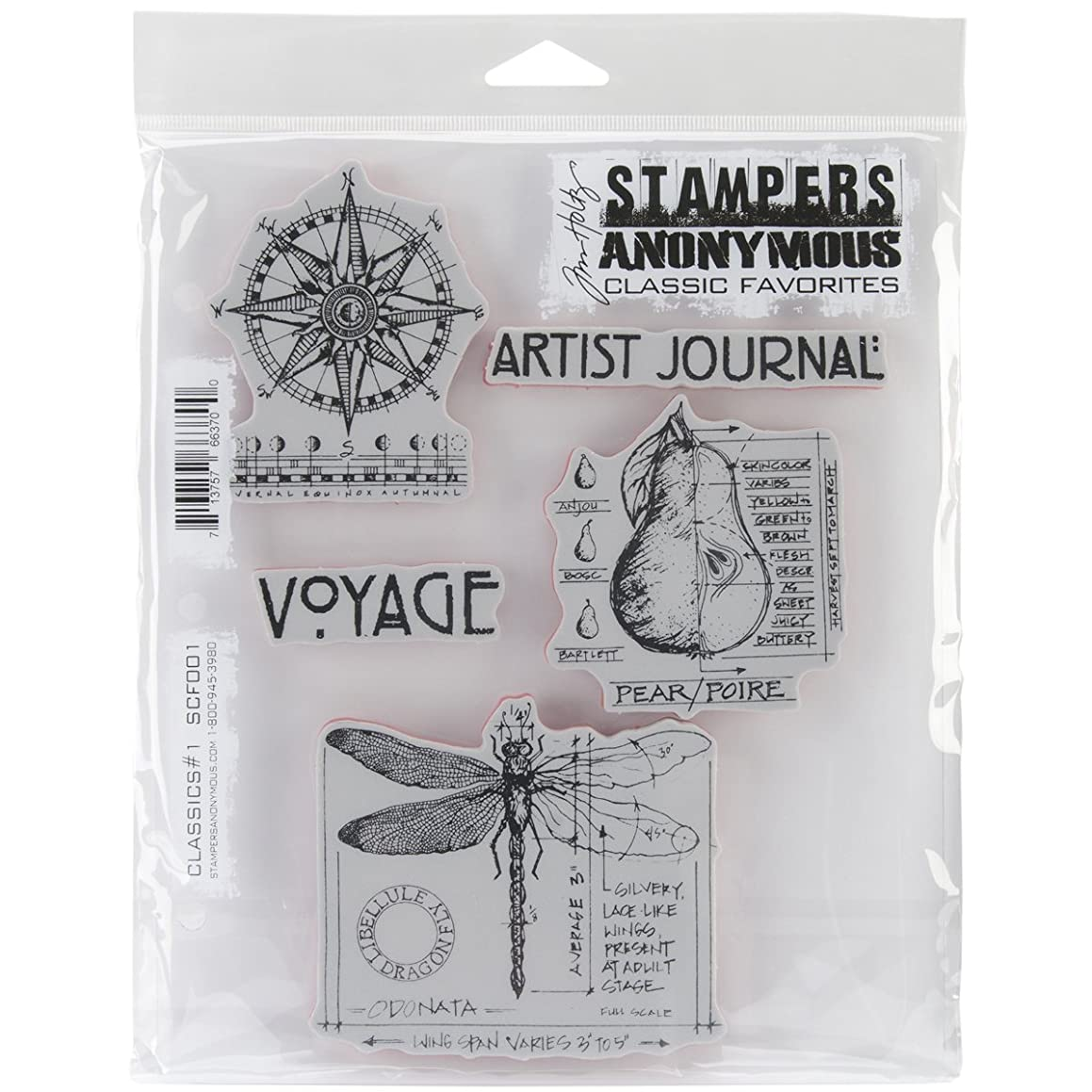 Stampers Anonymous Rubber Stamp Set, 7 by 8.5-Inch, Classics No.1