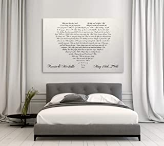 CANVASPrtint First Dance Lyrics On Canvas Your Wedding Song On Canvas Heart Shaped Couples Song Couples Gift 16x24