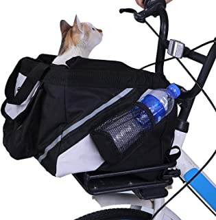 LEMKA Pet Carrier Bicycle Basket Bag Pet Carrier/Booster Backpack for Dogs and Cats with Big Side Pockets(15