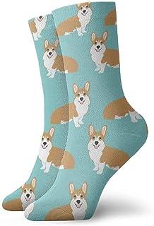 yting, Funny Corgi Dogs Calcetines de vestir verde menta Funny Socks Crazy Socks Calcetines casuales para niñas niños