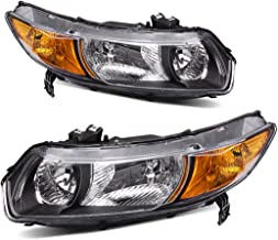 Headlight Assembly OE Style Replacement Direct for 2006-2011 Honda Civic Coupe Headlamps Black Housing with Amber Park Lens (Driver and Passenger Side)