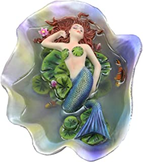 Ebros Sheila Wolk Elan Vital Sculpture Red Haired Ariel Mermaid Sleeping On Water Lilies With Koi Fishes In A Giant Clam Shell Pond Figurine Fantasy Mermaids Pirates Sirens Decor Statue 6.75
