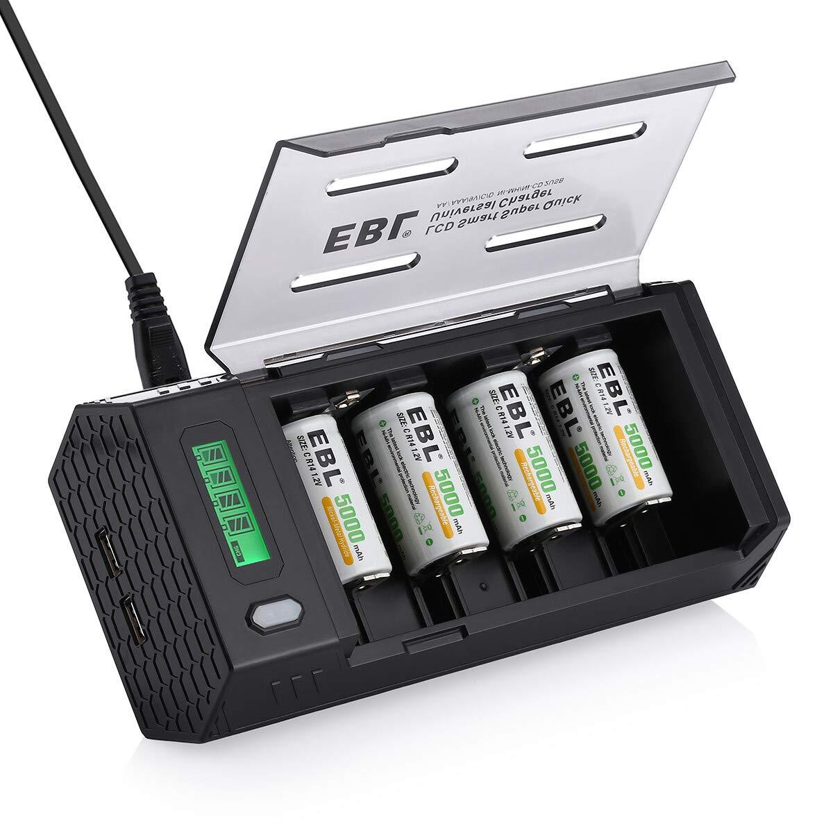 EBL LCD Cargador de Pilas con 4 x C Pilas Recargables 5000mAh, Cargador de baterías para AA AAA C D 9V Ni-MH Ni-CD Pilas Recargables: Amazon.es: Electrónica