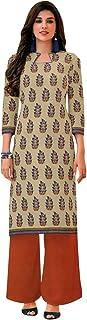 Ladyline Womens Causal Printed 100% Cotton Kurtis Tunic Womens Top