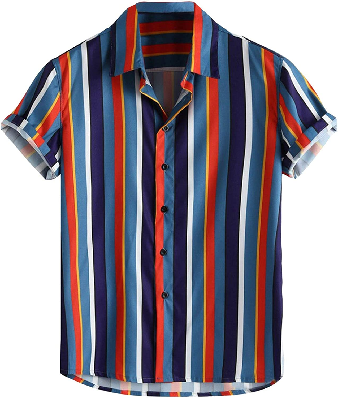 7789 Men's Summer T-Shirt Button Down Roll Up Short Sleeve Shirt Bright Striped Colorful Hawaiian Shirt for Men