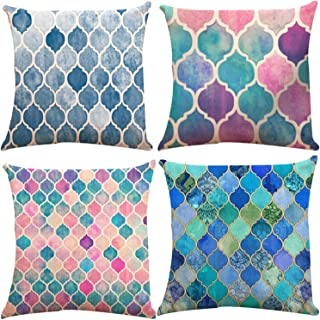Decorative Throw Pillow Covers 18 x 18 Inch Double Side Design,ZUEXT Set of 4 Mermaid Scale Cotton Linen Indoor Outdoor Pillow Case Cushion Cover for Car Sofa Home Decor(Geometric Trellis Chain Print)