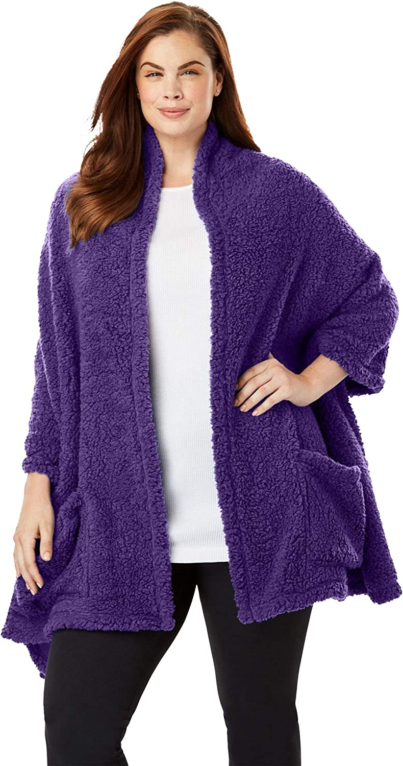 Dreams Co. Women's Max 51% Indefinitely OFF Plus Size Sherpa Robe Drape-Over Wrap