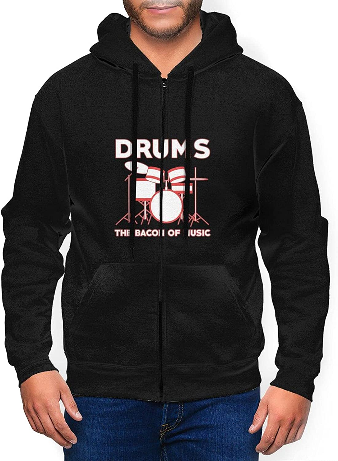 Ruporch Drums-are-The-Bacon-Music Some reservation low-pricing Men's Hoodie H Zip Full Active