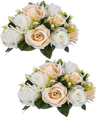 "Sziqiqi Paquete de 2 Ramos de Flores Artificiales, Rosas de plástico con Base, para decoración de centros de Mesa de Bodas y Fiestas, Champagne & White, 10""×4.7"""