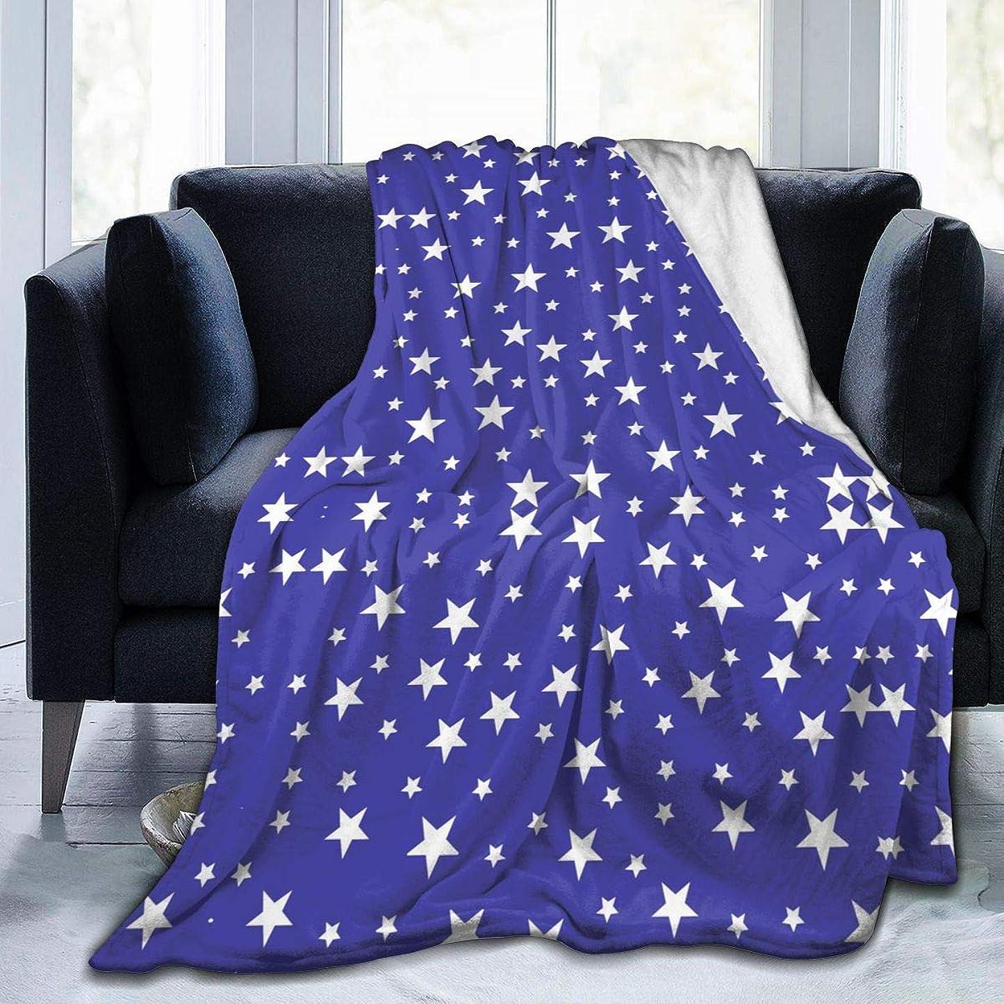 全国きしむ従来のひざ掛け 毛布 ブランケット 青い星 スター 大判 ふわふわ 厚手 シングル 暖かい 柔らかい 膝掛け 携帯用 車用 オフィス用 防寒対策 冷房対策 お昼寝 通年用 洗える