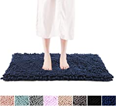 "FRESHMINT Chenille Bath Rugs 1.65"" Piles, Soft Fluffy Super Absorbent Bath Mats, Plush Shag Rug, Non-Slip Carpet for Tub Bathroom Shower Mat, Machine-Washable Durable Area Rugs (32"" x 20"", Navy)"