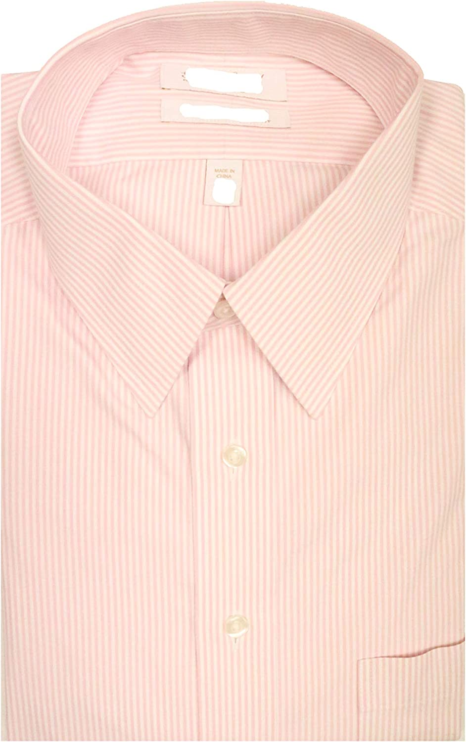 Gold Label Roundtree & Yorke Non-Iron Fitted Point Collar Stripe Dress Shirt F85DG146 Pink (17-36)