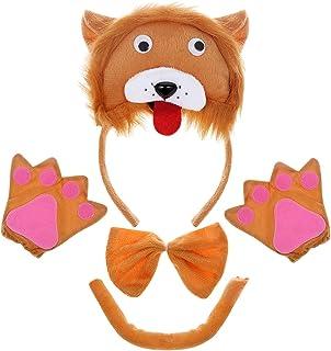 PRETYZOOM 4pcs Disfraz de León para Niños Conjunto de Diadema con Orejas Animal Guantes Cola y Pajarita Traje de Costume para Fiesta Carnaval