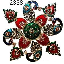 Generic Metal Rangoli with Peacock/Meenawork/Multicolour