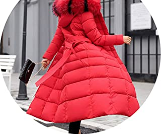 Hooded Fur Collar Winter Down Jacket Long Warm Women Cotton-Padded Casaco Parkas 02,Red,XXXL,