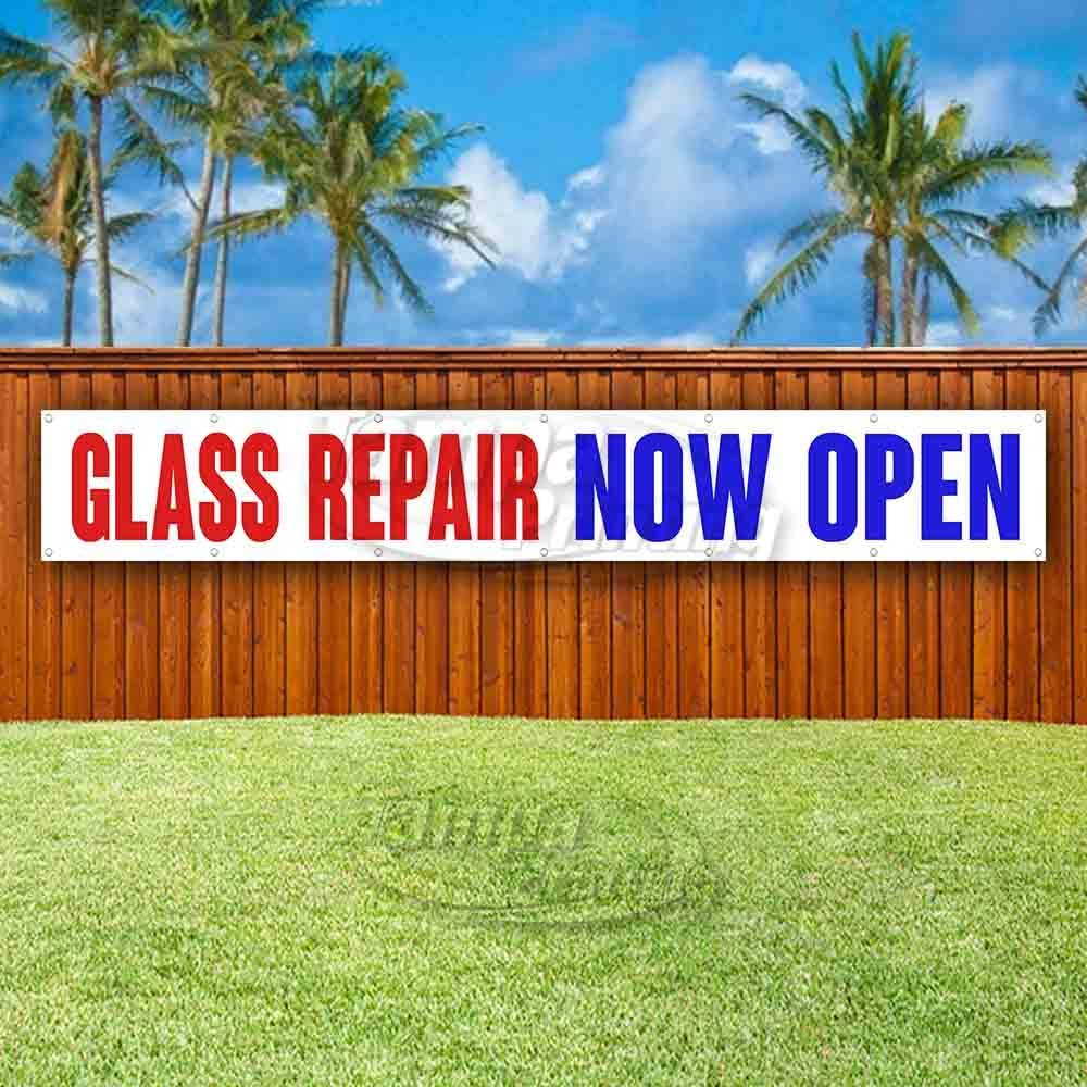 Glass Repair Now Open Extra Large 13 Oz Heavy Duty Vinyl Banner Sign with Metal Grommets Flag