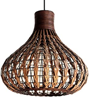 Bagood Natural Bamboo Chandelier DIY Wicker Rattan Lamp Shades Weave Hanging Light D13.8INCH