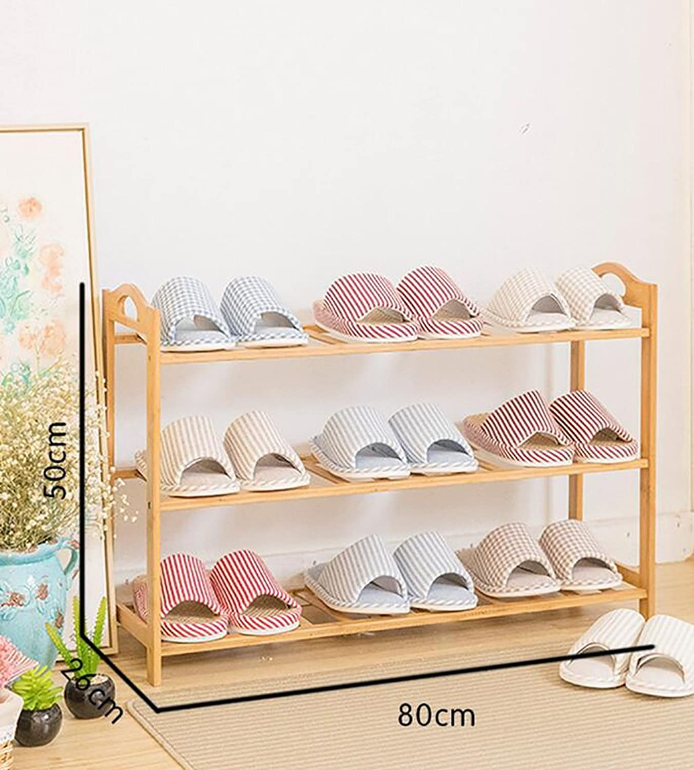 shoes Bench Organizing Rack shoes Rack Bamboo Shelves Multi - Layer dust - Proof Solid Wood shoes Rack Assembly Economical Shelves Home Living Room shoes Cabinet (color   A, Size   80cm)