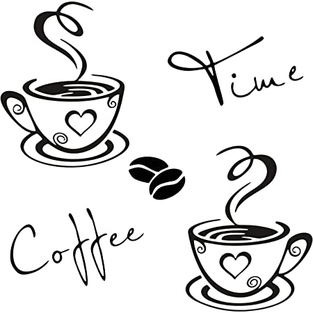 Amazon Com Cunya 2 Sets Kitchen Wall Decor Stickers Cups Coffee Time Quotes Decals With Beans Mural Peel And Stick Wallpaper Diy Removable Wall Art Decals Mural Posters Home Decor Home Kitchen