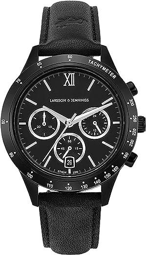 ساعة لارسون آند جينينغز رالي للجنسين والرجال والنساء مع قرص أسود 39 مم وحزام جلدي أسود CHR39-LBK-BBB.
