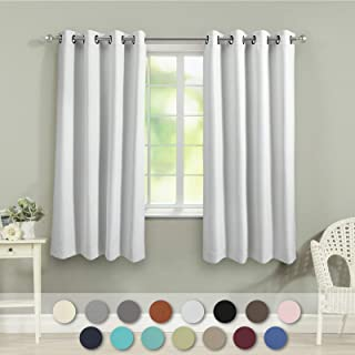 VEEYOO Black Out Curtains for Living Room Thermal Insulated Grommet Blackout Window Curtains 63 inch Length Set of 2 Greyish White Curtain Panels