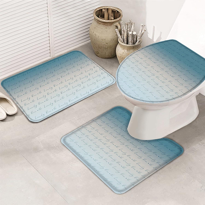 MuswannaA 3 Piece Bathroom Rugs Set Gr Laundry Max 62% OFF Room New life Bath The Mat
