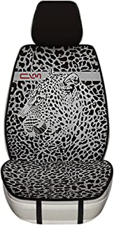Car Seat Covers,Universal fit Cooling Breathable Front Seat Cover,Artistic Leopard Print Honeycomb Porous Cloth(ONE Piece)(Black)