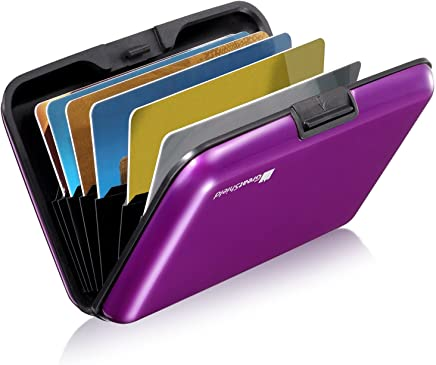 GreatShield RFID Blocking Wallet [8 Slots   Aluminum] Portable Travel Identity ID / Credit Card Safe Protection Card Holder Hard Case for Men and Women (Purple)