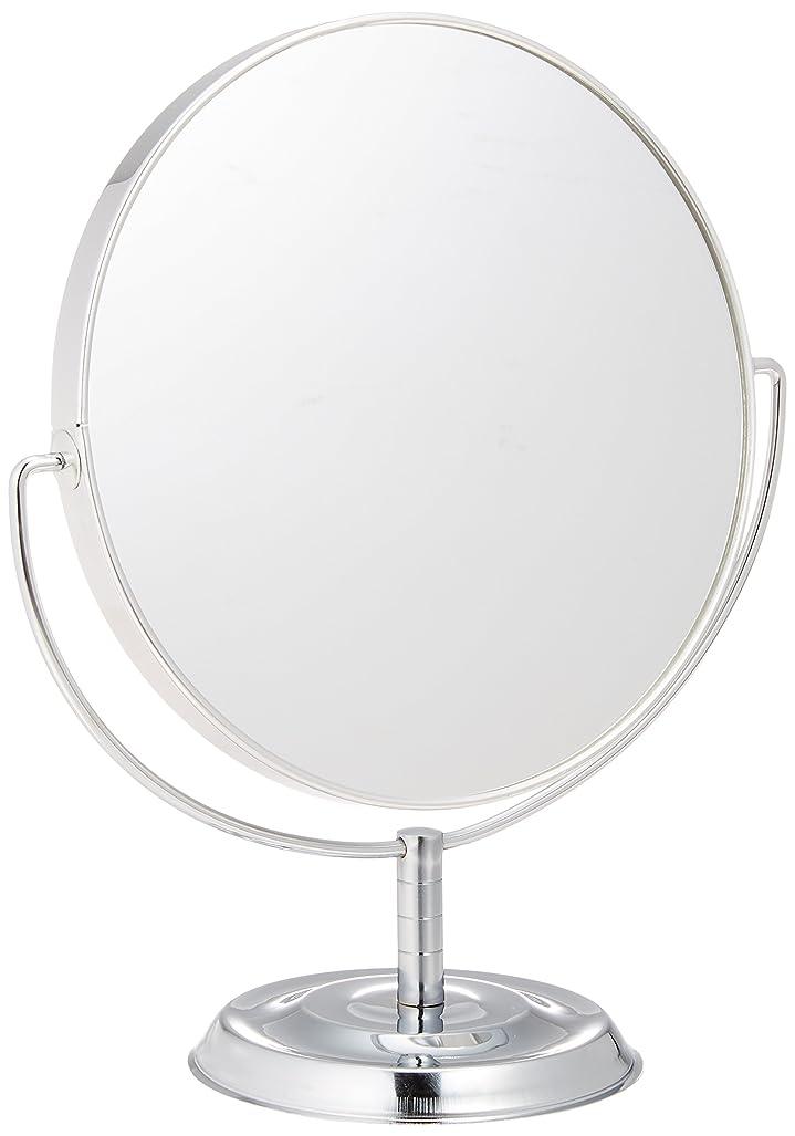 不適切なウィスキー建築家メリー 片面約5倍拡大鏡付両面鏡卓上ミラー シルバー No.5880