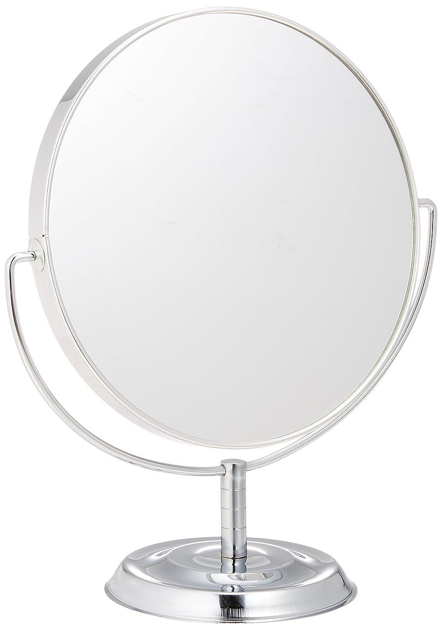フラスコ迷信円形メリー 片面約5倍拡大鏡付両面鏡卓上ミラー シルバー No.5880